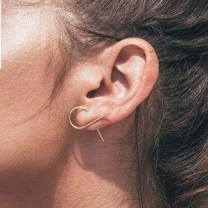 Simple Minimalist Wire Twist Earrings Black Silver